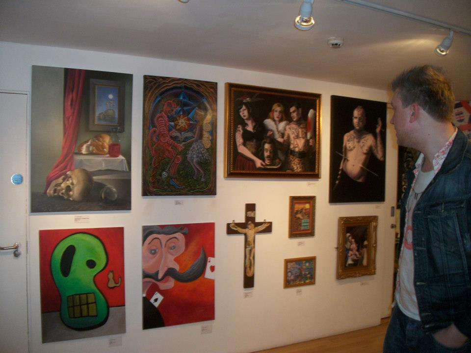 """Stuck on The Cross"" Exhibition curated by Chris Yates Stuckist, Stuckist Exhibition in The Tabernacle Gallery, Notting Hill, London"