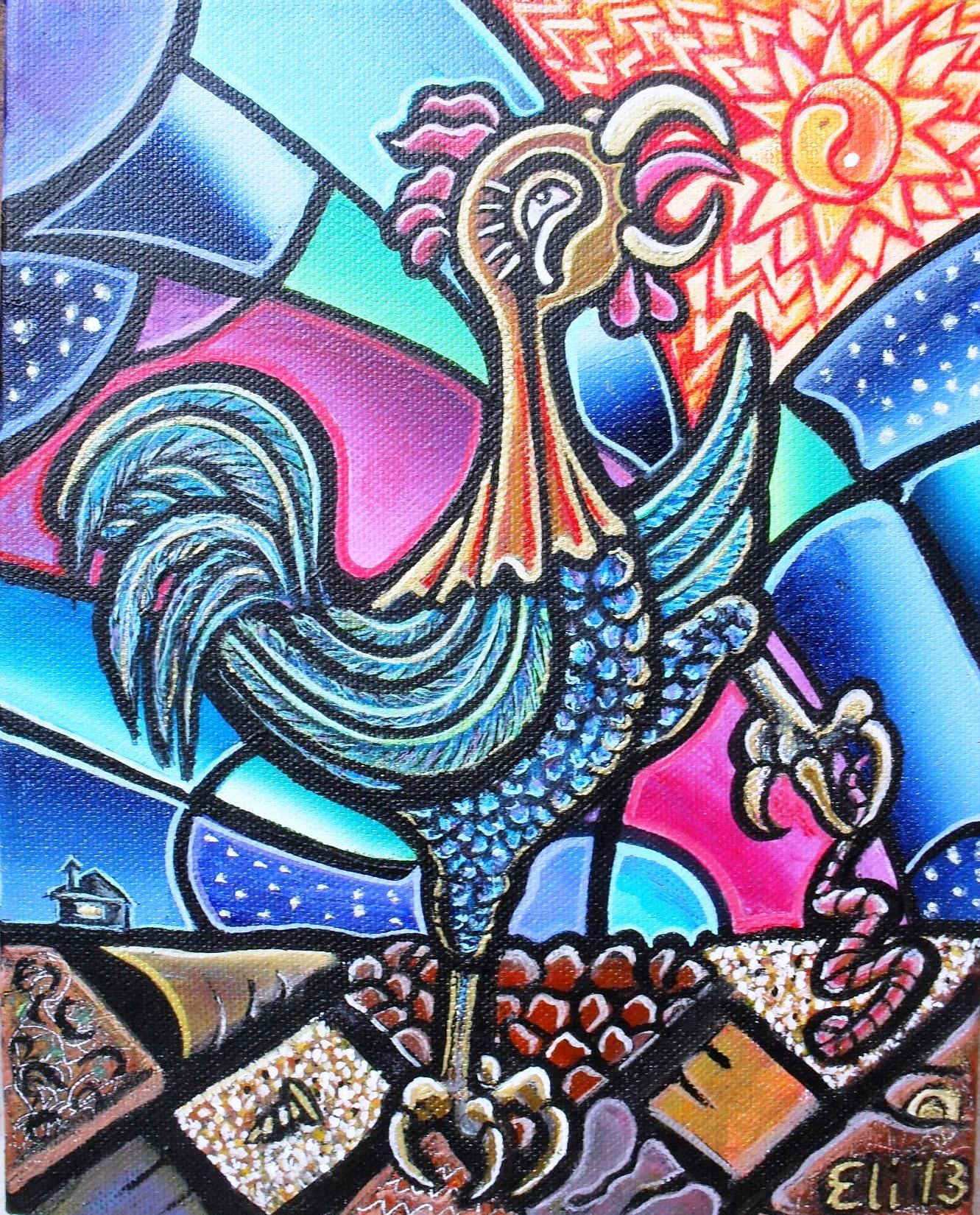 Artista Eli - Año del Gallo - Year of the Rooster - Acrílico sobre Lienzo - Acrylic on Canvas - 2013 10 x 8 x 1.5 inches