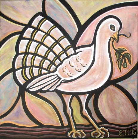 Artista Eli - La Paloma del amor -The Dove of Love - 2015 - Acrílico sobre lienzo -Acrylic on Canvas - 40 x 40 cm