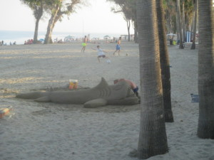 Sand Shark Sculpture on the beach