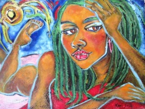 Kari Seid - Rasta Kiss - 2012 - Oil Pastels and Paint on Canvas